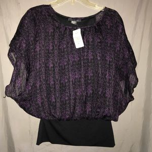 Size Shier Black Purple Print Sheer Top w/ Tank